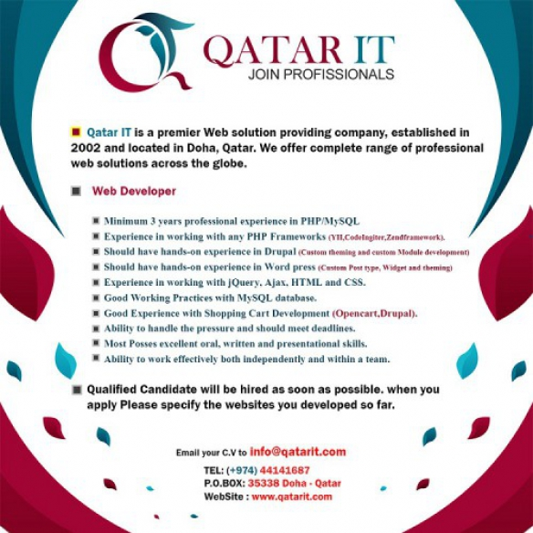 Senior Web Developer Job At Qatar It